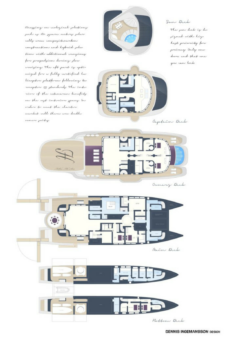 50m Catamaran yacht design drawings for new build boats
