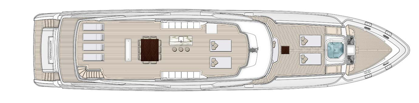 Birdseye layout of the yacht