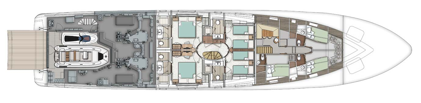 Birdseye view of the Benetti Mediterraneo 116