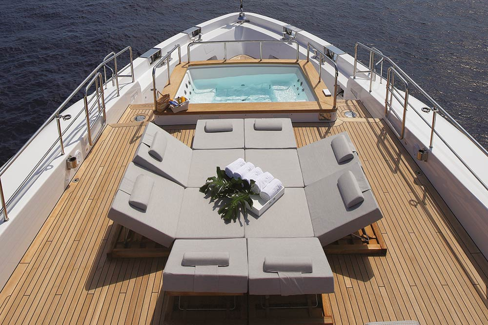 outside seating on a Benetti