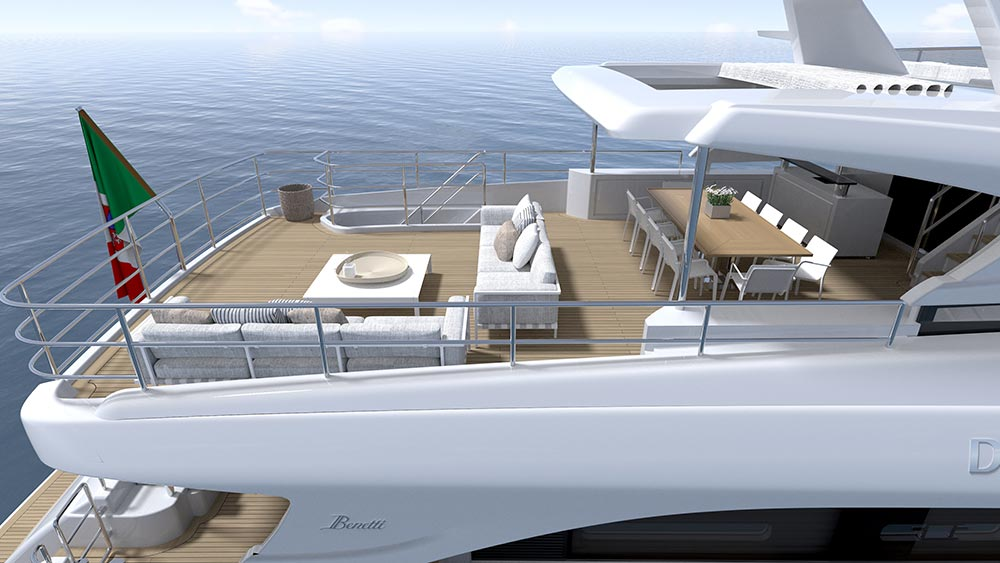 A view of both decks on the Delfino 95