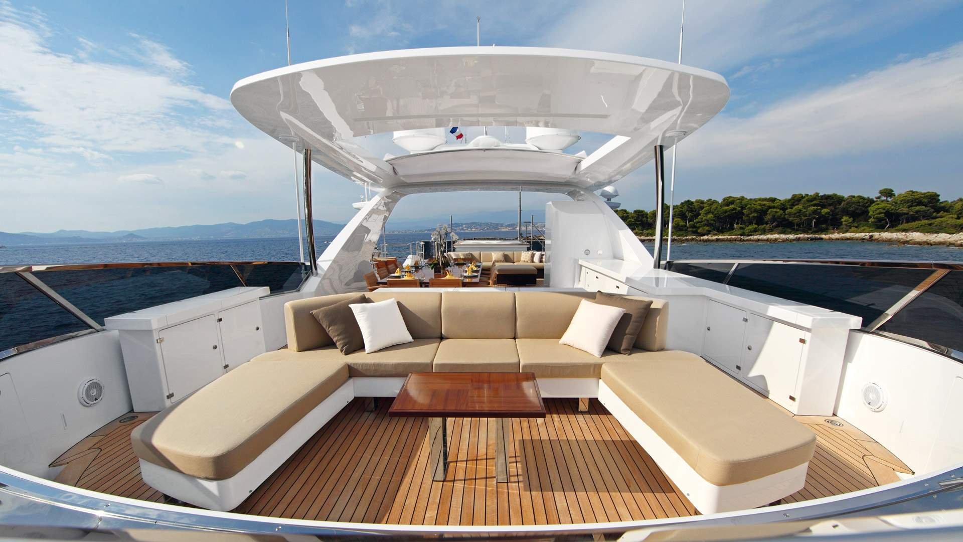 Sun Deck on Benetti Yacht used for sunbathing when at sea or on anchor