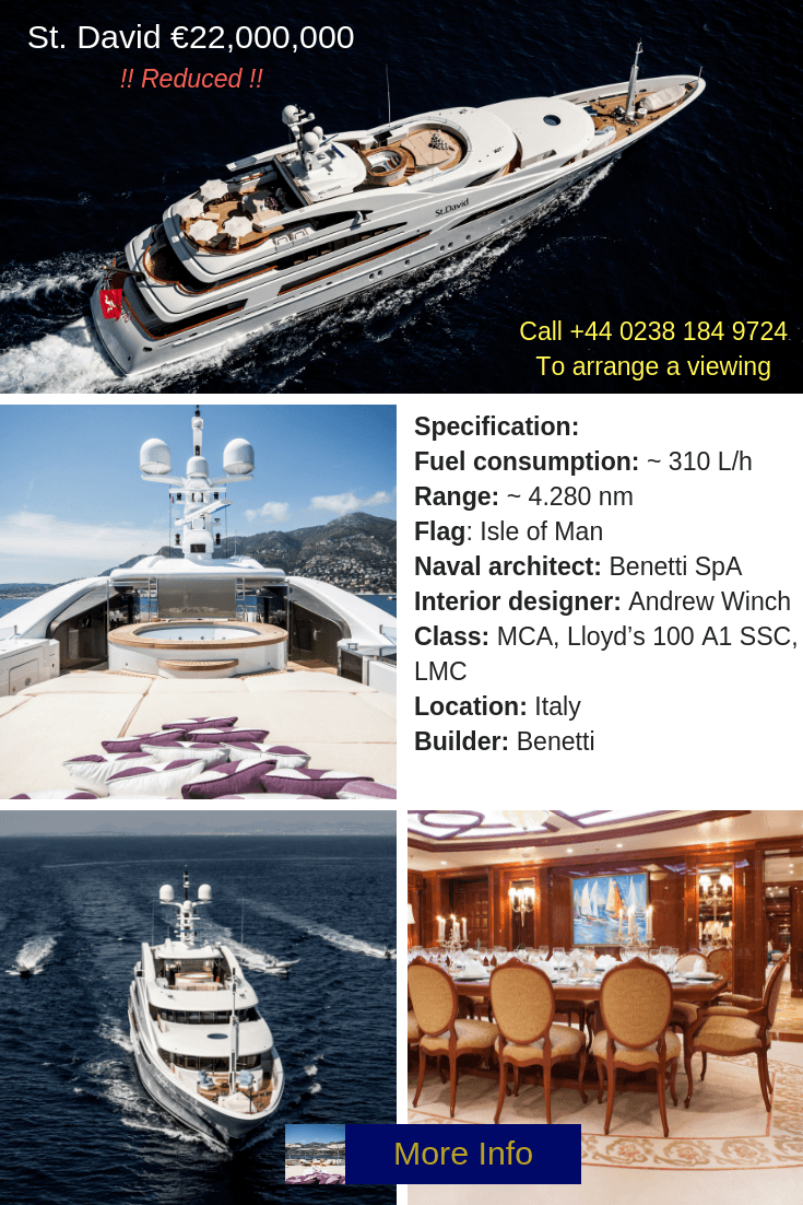 St David Benetti Superyacht for sale at 1 UK - CALL NOW TO VIEW