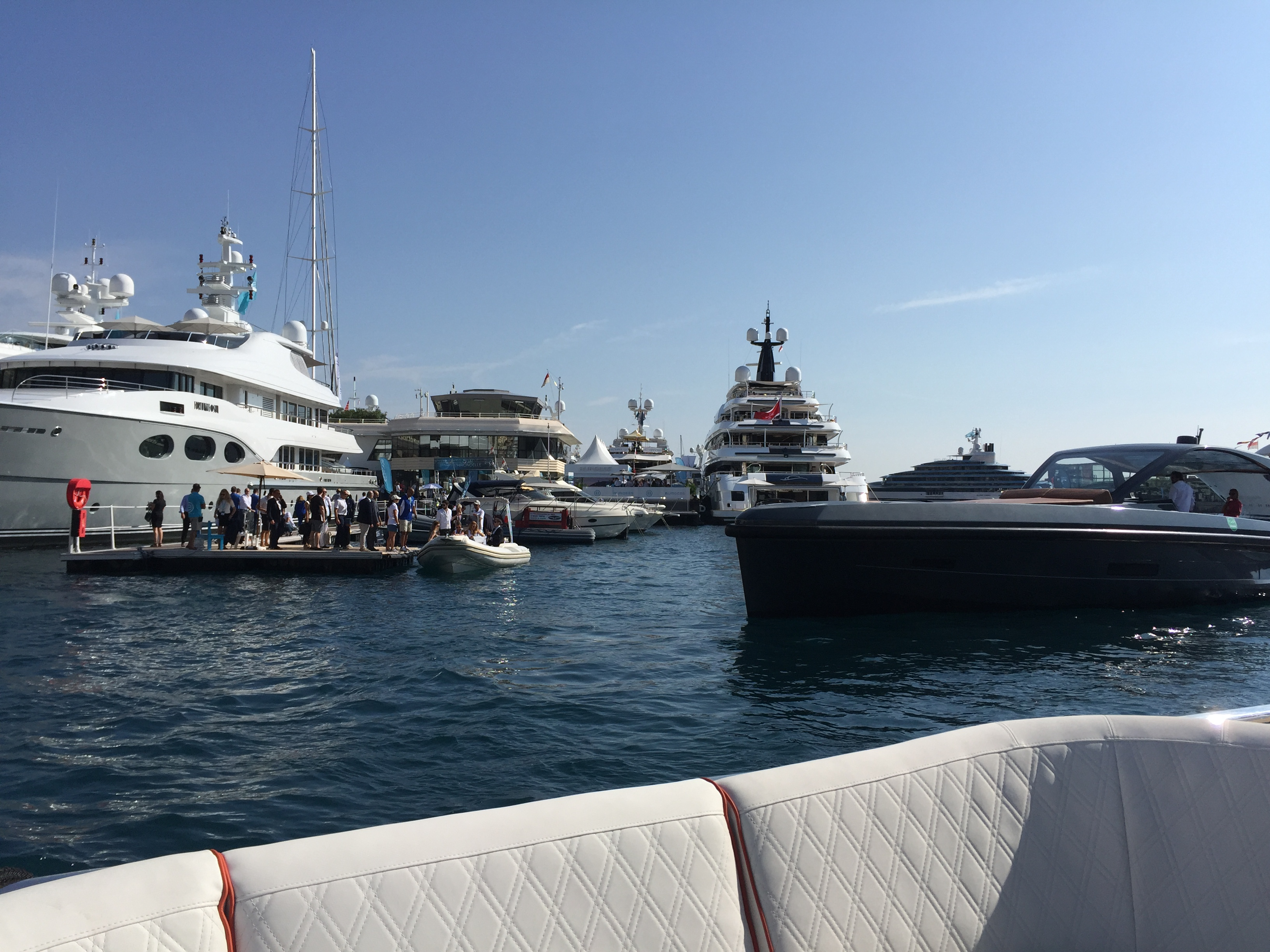 Guests viewing the yachts at the Monaco show