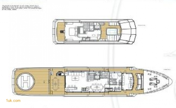 A open plan of both top deck and main deck on Cklass Nautique yacht