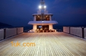 A stunning view at night of back of the Cklass Nautique