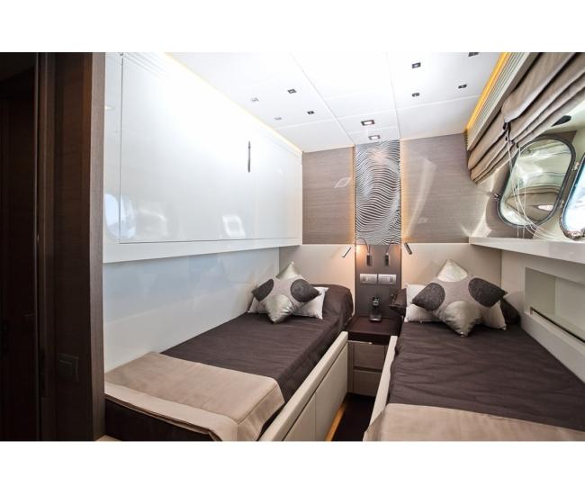 Twin bedroom on luxury yacht Aubrey