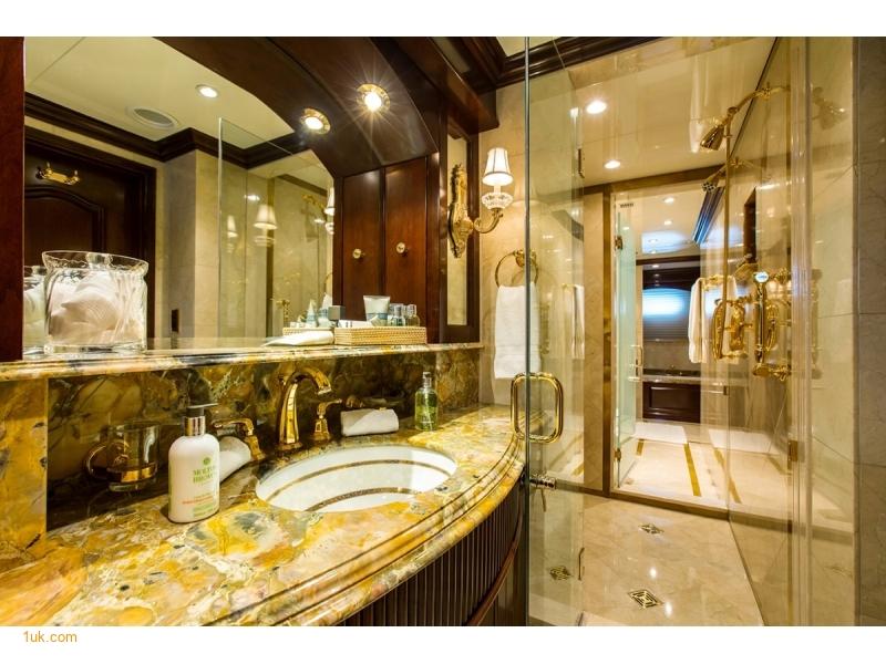 M/Y Mustique Superyacht bathroom in gold