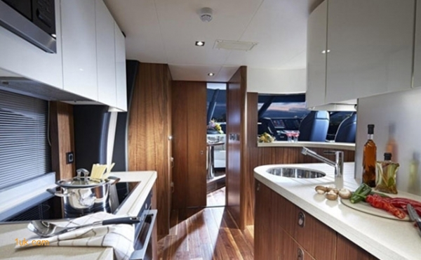 The kitchenette area of the 86 boat