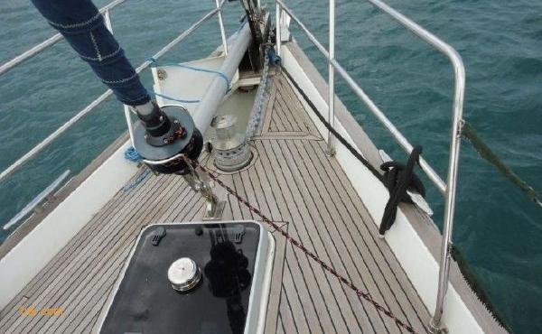 On deck sailing yacht