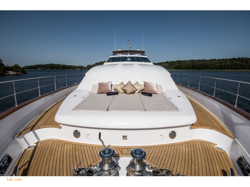 Sunbathing area at the front of the boat on the sundeck