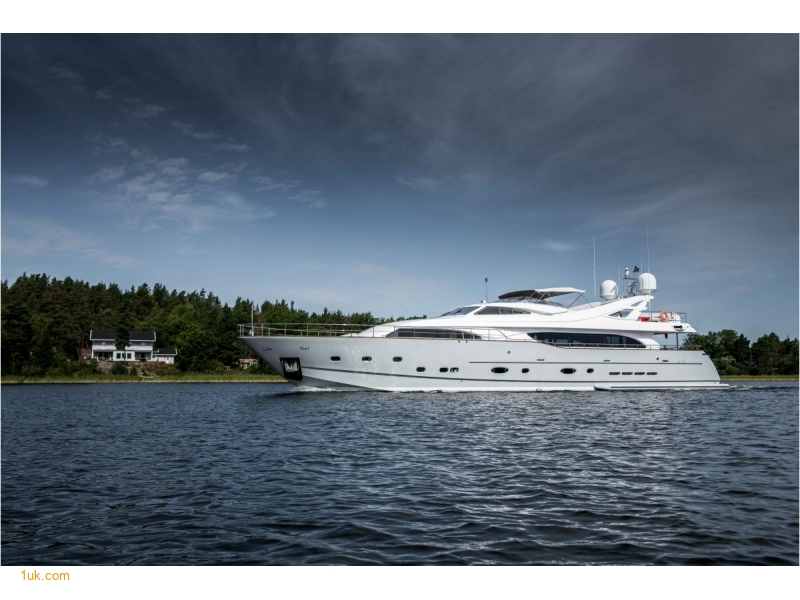 A stunning yacht goes by the name of Queen of Sheba cruising along waters