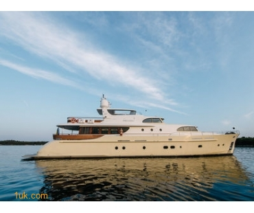 External View of Super Yacht at sea