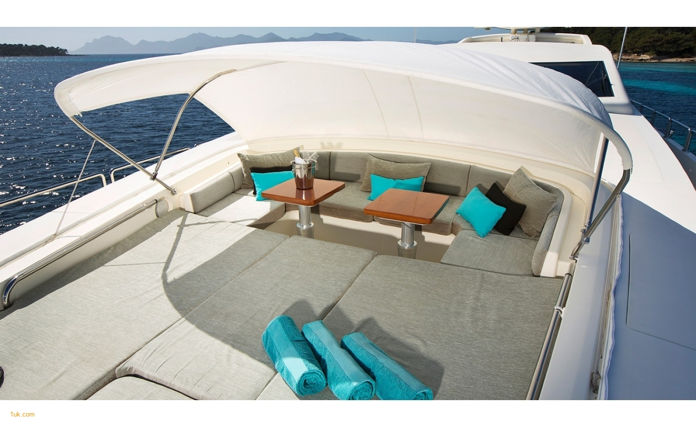 Retractable sun roof on the motor yacht