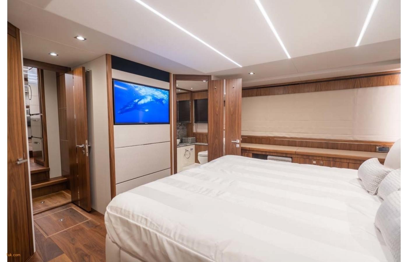 Double bedroom in the Predator 74 Motor yacht
