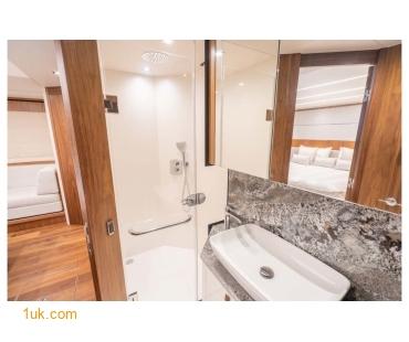 Luxury bathroom in a Predator 74 Motor yacht