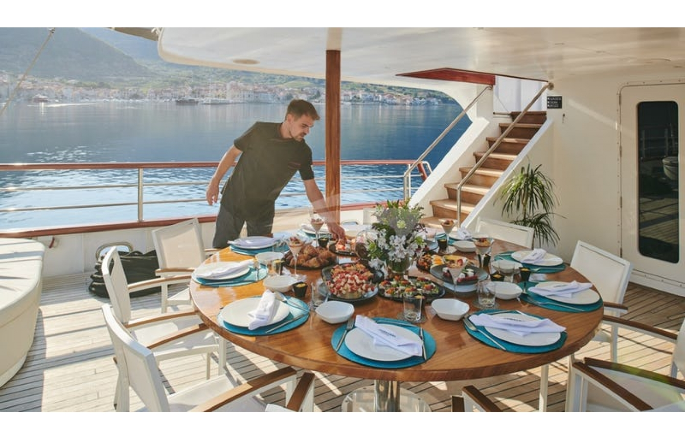 Large aft deck space for dining/relaxing