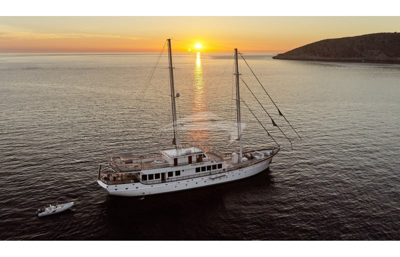 Corsario sailing into the sunset