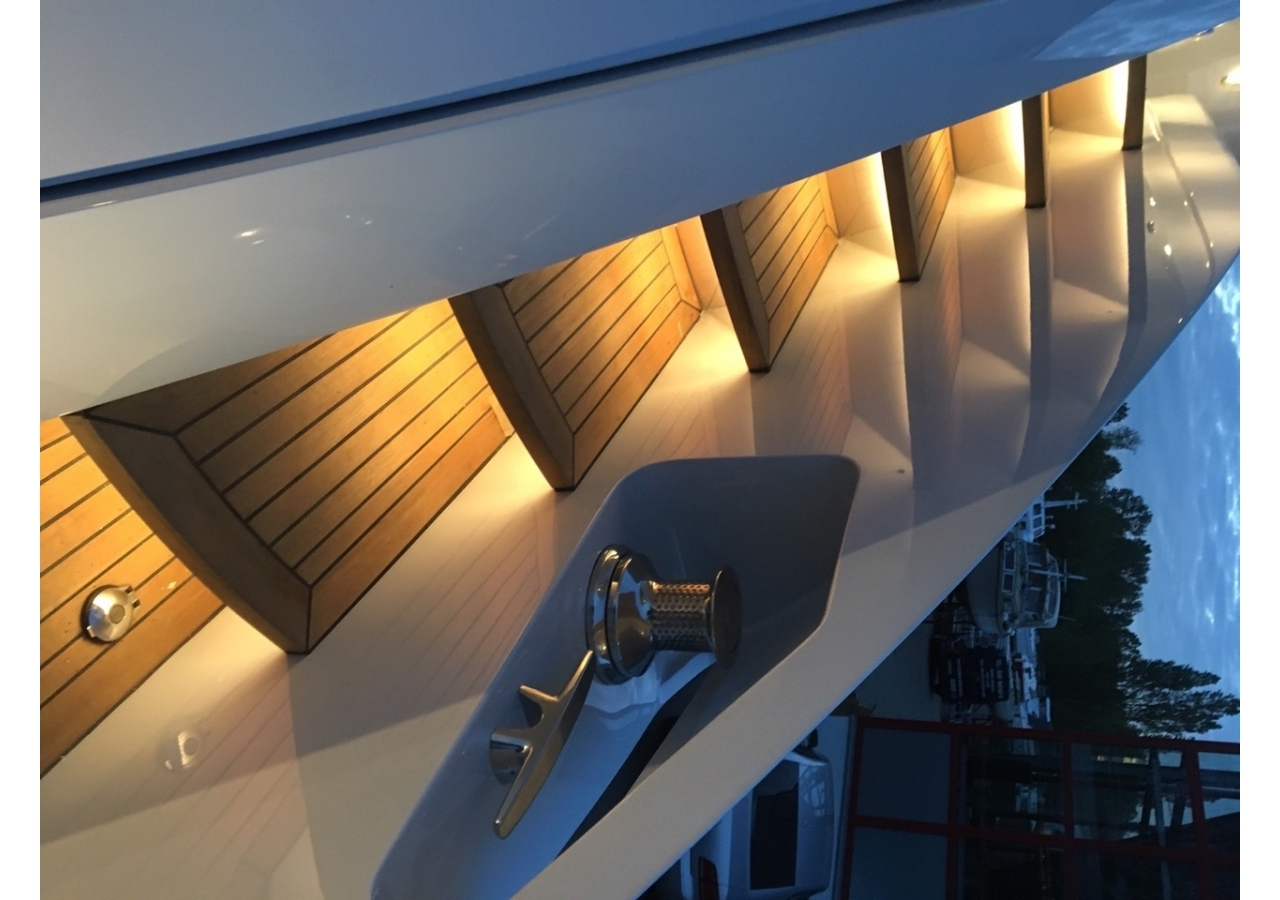 LED lighting at the side of the motor yacht