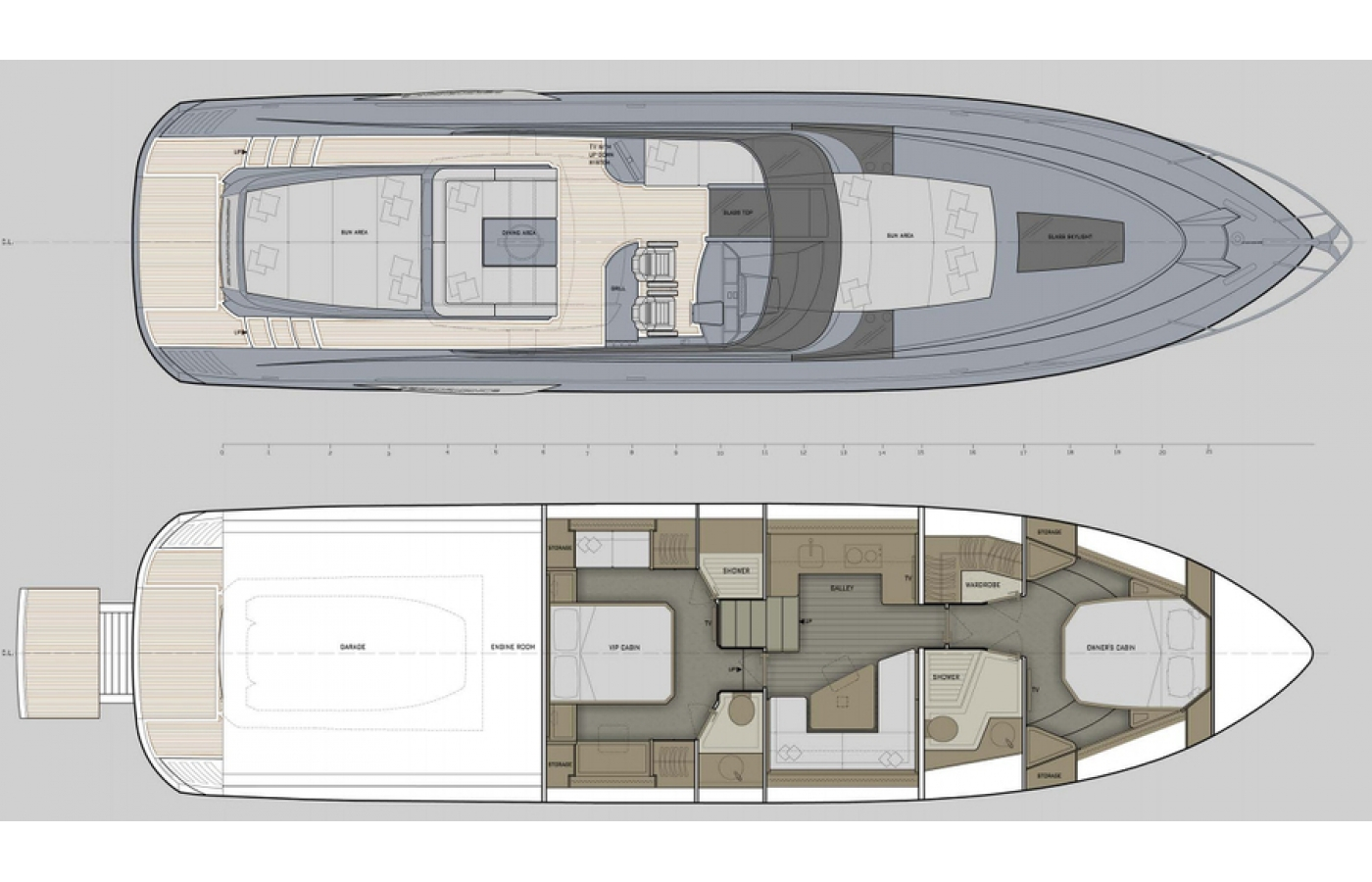 Layout of the 65' Ocean Sports Yacht