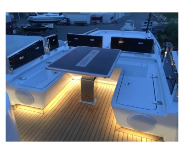 LED lighting around the seating of the outdoor table