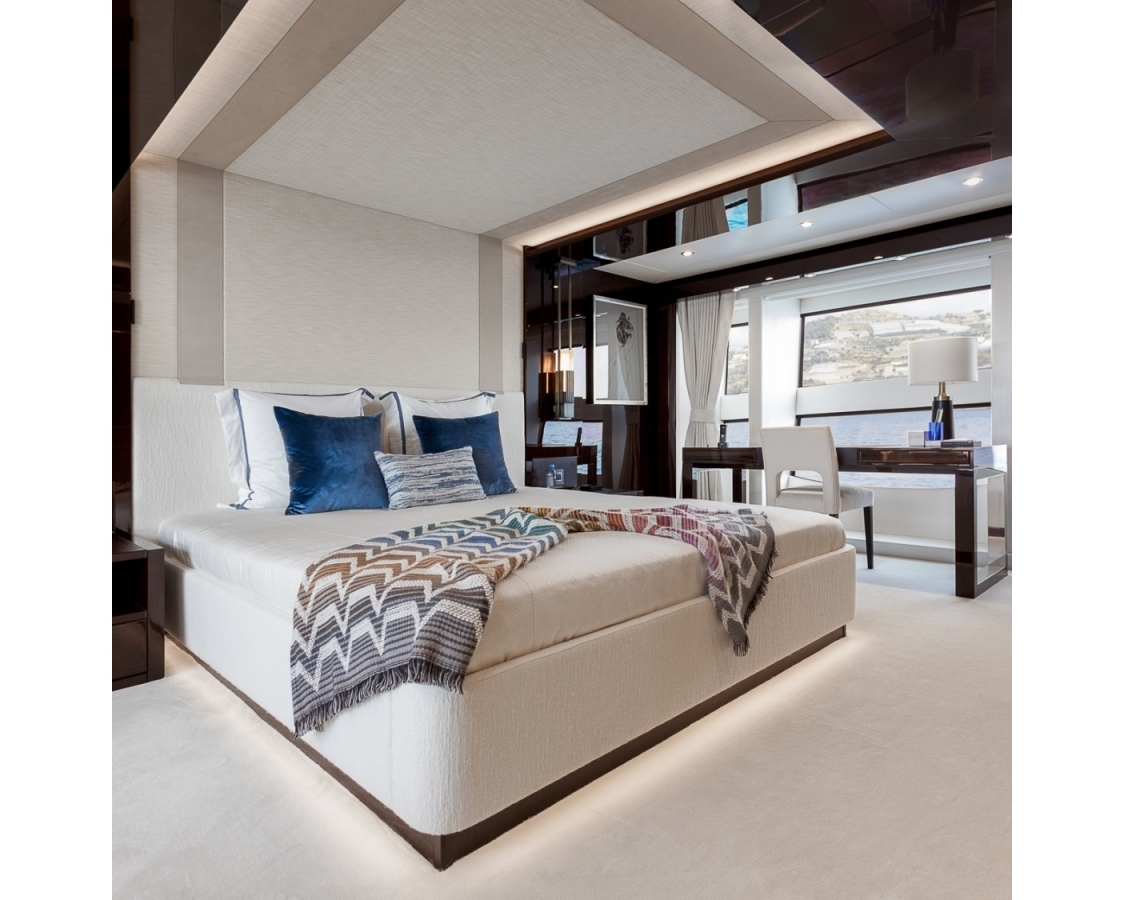 Large bed inside of the master cabin