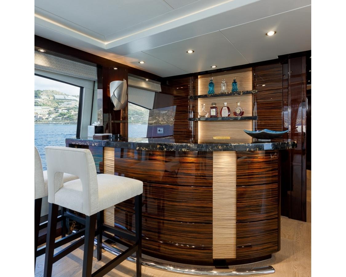 Inside bar on board the Lady M motor yacht