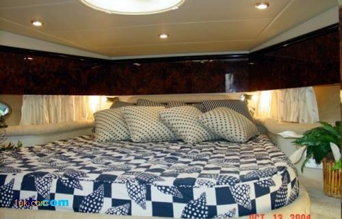 Master bedroom inside the 51 Camargue motor yacht